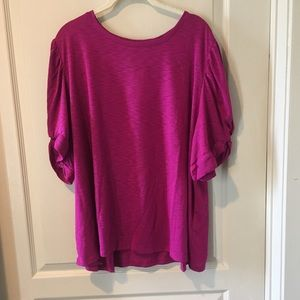 INC Plus Size Puff Sleeve Top Pink Size 4X NWT
